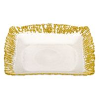 Classic Touch Trophy Scalloped Square Plates in Gold (Set of 4)