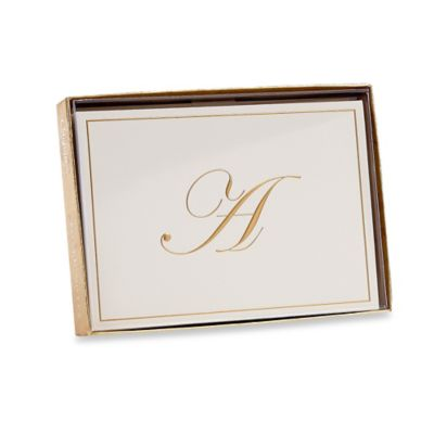 Buy greeting cards from bed bath beyond caspari gold embossed letter a note cards m4hsunfo Images