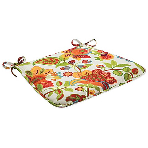 Attractive Outdoor Bistro Chair Cushion With Ties In Telfair Red