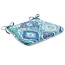 Outdoor Bistro Chair Cushion With Ties In Ikat Blue