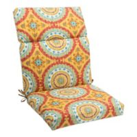 Outdoor High Back Cushion with Ties in Sunset Red