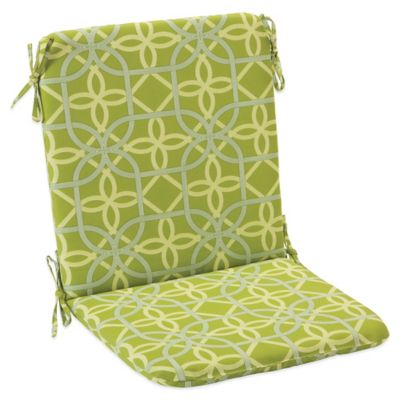 Outdoor Mid Back Cushion With Ties In Fret Kiwi