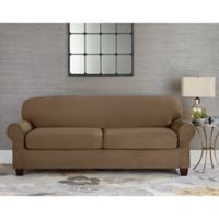 Sure Fit® Designer Suede Individual Cushion 2-Seat Sofa Slipcover in Taupe