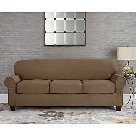 Sure fitr designer suede individual cushion 3 seat sofa for Fitted furniture slipcovers