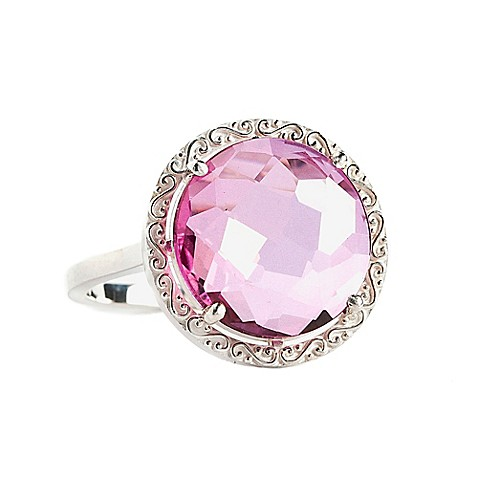 image of Suzanne Kalan Sterling Silver 12mm Round-Cut Pink Topaz Filigree Bezel Ladies' Ring