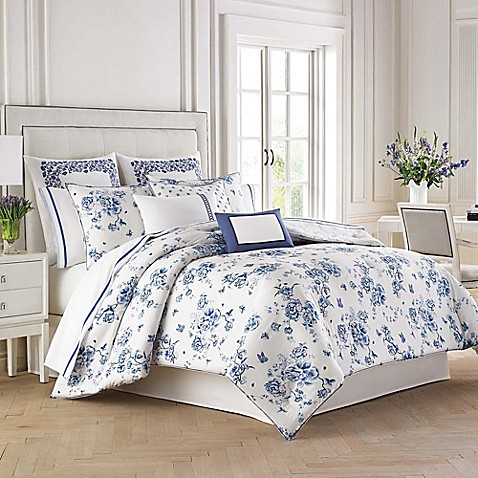 wedgwood china blue floral comforter set   bed bath amp beyond