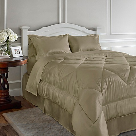 Buy Satin Luxury California King Comforter Set In Taupe