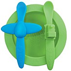 Oogaa Planes & Trains Silicone Mealtime Set in Green/Blue