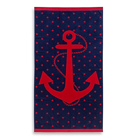 Jacquard Anchor And Star Oversized Beach Towel Bed Bath