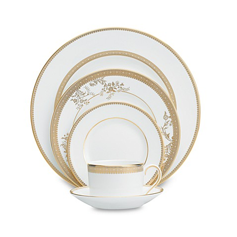 Vera Wang Wedgwood 174 Lace Gold Dinnerware Collection Bed
