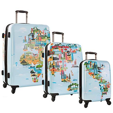 Heys fvt world map upright spinner luggage collection bed bath heys fvt world map upright spinner luggage collection gumiabroncs Image collections