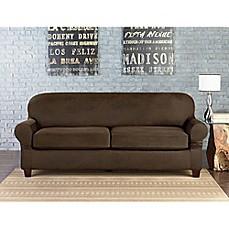 sure fit vintage faux leather individual cushion 2 seat