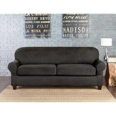 Sure Fit® Vintage Faux Leather Individual Cushion 2 Seat Sofa Slipcover In  Grey