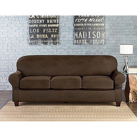 sure fit vintage faux leather individual cushion 3 seat sofa slipcover bed bath beyond. Black Bedroom Furniture Sets. Home Design Ideas