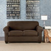 Sure Fit® Vintage Faux Leather Individual Cushion Love Seat Slipcover in Brown