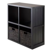 Winsome Trading Timothy 2-Tier Shelf with 2 Woven Baskets in Black/Chocolate