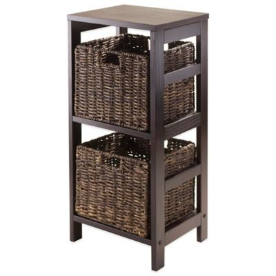 Winsome Trading Granville 2 Tier Storage Shelf With Small Baskets In Espresso Chocolate