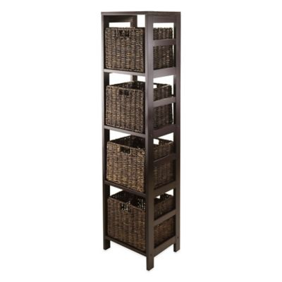 Delicieux Winsome Trading Granville 4 Tier Tall Storage Shelf With 4 Small Baskets In  Espresso/