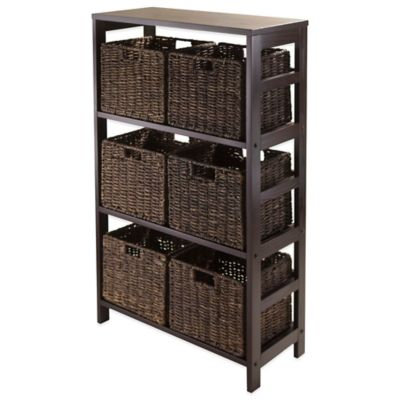 Winsome Trading Granville 3 Tier Storage Shelf With 6 Small Baskets In  Espresso/Chocolate