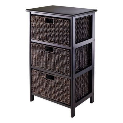Winsome Trading Omaha 3 Tier Storage Shelf With 3 Baskets In Black/Chocolate