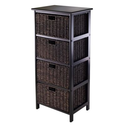 Winsome Trading Omaha 4 Tier Storage Shelf With 4 Baskets In Black/Chocolate