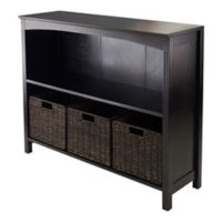 Winsome Trading Terrace 2-Tier Wide Shelf with 3 Small Baskets in Espresso/Chocolate