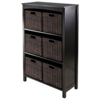 Winsome Trading Terrace 3-Tier Shelf with 6 Small Baskets in Espresso/Chocolate