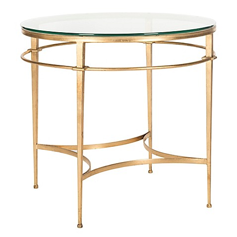 Safavieh ingmar round side table in gold bed bath beyond for Round gold side table