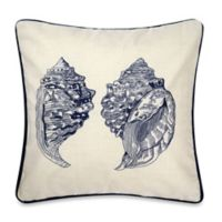 Double Conch Square Embroidered Throw Pillow in Ivory