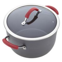 Rachael Ray Cucina 10 qt. Covered Stock Pot in Grey/Cranberry