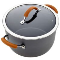 Rachael Ray Cucina 10 qt. Covered Stock Pot in Grey/Pumpkin
