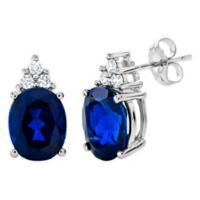 Sterling Silver Created Oval Sapphire and Created White Sapphire Trio Stud Earrings