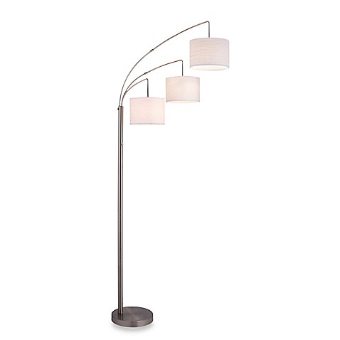 adesso 3 arc floor lamp in satin steel with burlap shades. Black Bedroom Furniture Sets. Home Design Ideas