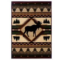 United Weavers Contours Moose Wilderness 5-Foot 3-Inch x 7-Foot 6-Inch Area Rug in Toffee