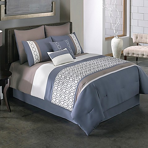 Covington 6 8 Piece Comforter Set In Blue Bed Bath Amp Beyond