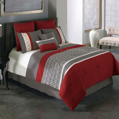 Beau Covington 8 Piece Full Comforter Set In Red/Grey