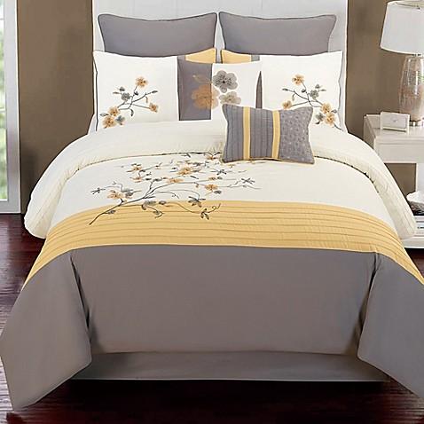 camisha 8-piece comforter set in yellow/grey - bed bath & beyond