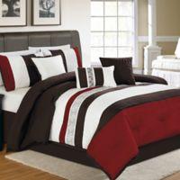 Zander 7-Piece Queen Comforter Set in Red/Chocolate