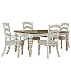Hillsdale Pine Island 5-Piece Dining Set with Ladder Back Chairs in Old White