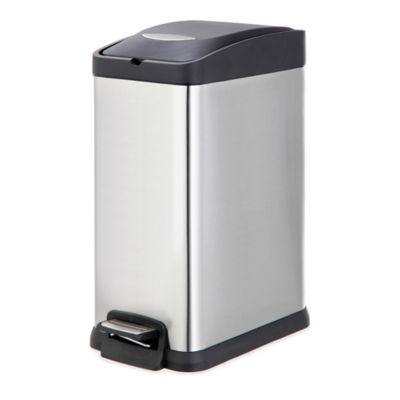 decorative indoor trash cans. Stainless Steel Rectangular 15 Liter Pedal Trash Bin Buy Slim Can from Bed Bath  Beyond