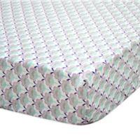 The Peanut Shell® Zoe Scallop Floral Fitted Crib Sheet in Aqua/Purple