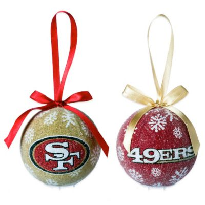 nfl san francisco 49ers led lighted christmas ornament set set of 6 - Lighted Christmas Ornaments