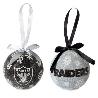 nfl oakland raiders led lighted christmas ornament set set of 6 - Lighted Christmas Ornaments