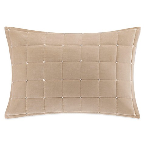 Quality Throw Pillows : Buy Quilted Velvet Oblong Throw Pillow in Khaki from Bed Bath & Beyond