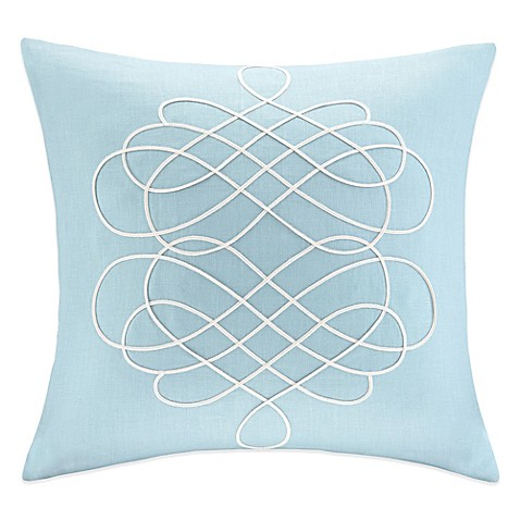 Blue Linen Throw Pillows : Buy Linen Embroidered Square Throw Pillow in Blue from Bed Bath & Beyond