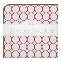 Swaddle Designs® Receiving Blanket® with Brown Circles in Pink