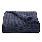 Kenneth Cole Reaction Home Waffle King Blanket in Navy