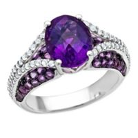 Sterling Silver Oval-Cut Amethyst and White Topaz Size 8 Ladies' Split Shank Ring
