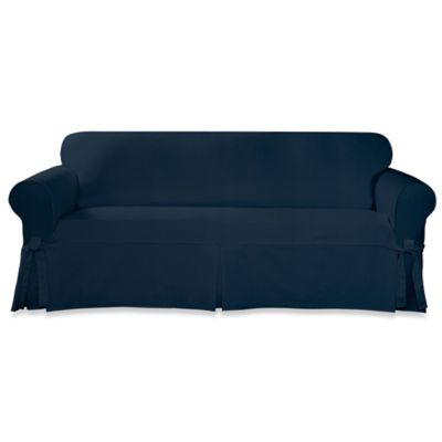 Buy sure fit designer twill loveseat slipcover in blue from bed bath beyond Blue loveseat slipcover