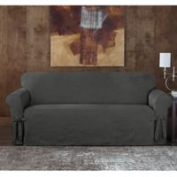 Sure Fit Designer Sueded Twill Sofa Slipcover In Grey